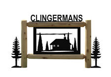 CABINS CLINGERMANS SIGNS-RUSTIC LOG CABIN DECOR-OUTDOOR SIGNS