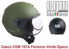 Casco JET Con Visiera Sagomata CGM 107A Florence Verde Gommato Taglia L 59 cm