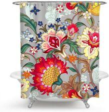 Boho Floral Vivid Shabby Chic Gray Colorful Farmhouse Fabric Shower Curtain