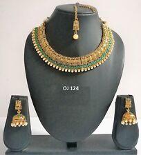 Indian Fashion Jewelry Bridal Wedding Kundan Crystal Necklace Earring Set OJ 124