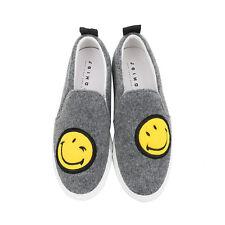 Joshua Sanders Men's Sneakers Gray Smiley Face Slip On Made In Italy Size 41