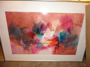 "AMS Framed Ron Kempton Abstract Expressionist Painting 5""X37.5"" $225 - Reduced!"