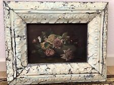Antique Floral Oil Framed in Tin Ceiling Tiles from Shabby Chic