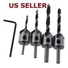 4pcs HSS 5 Flute Countersink Drill Bit Set Screw Woodworking Chamfer Tool 3 -6mm