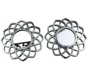 Mini Accent Mirror Distressed Silver Geometric Hanging Wall Decor Set 2