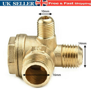 Air Compressor Check Valve 3-Port Brass Parts Replacement Universal Male New .