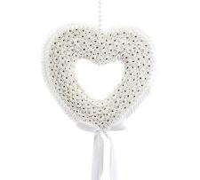 Boda Decorativo Guirnalda Seda Perla Diamante Lazo Flor Crema Corazón 27 x 25cm