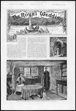 1885 Antique Print ROYAL WEDDING Princess Beatrice Cottages Osborne   (178)