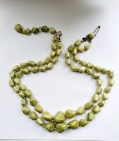 "Vintage 1950's Green Jasper Stones Double Strand 18"" Necklace"