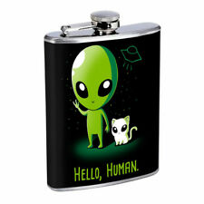 Alien Cat Human Em1 Flask 8oz Stainless Steel Hip Drinking Whiskey