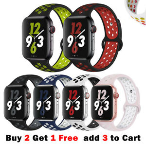 Sport Silicone Strap iWatch Band for Apple Watch Series 6 5 4 321 SE 40 44 38 42