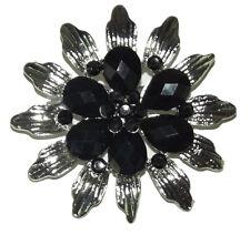 Crystal Pin Brooch wedding party #13 Brand New silver black flower Rhinestone
