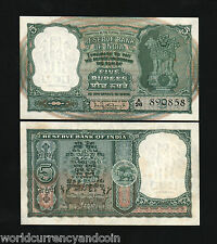 INDIA 5 RUPEES P36B 1962 ANTELOPE TIGER UNC ANIMAL CURRENCY MONEY BILL BANK NOTE
