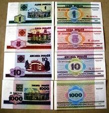 BELARUS @4 UNC NOTE@ (1, 5, 10 & 1000 rublei)