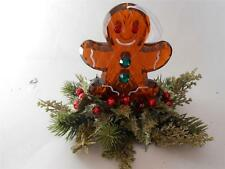 """7"""" Acrylic Gingerbread man Christmas ornament decor with Floral Holly berries"""