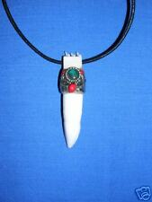 PERUVIAN CARVED BONE TOOTH w TURQUOISE GEMS NECKLACE