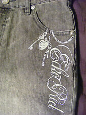 Eckored Denim Foundry Embellished Grey Bermuda Jean Shorts Size 14 - CL412