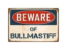 """Beware Of Bullmastiff 8"""" x 12"""" Vintage Aluminum Retro Metal Sign Vs085"""