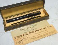 Vintage Fountain Pen & Propelling Pencil Set Black 14K Gold Medium Nib - Boxed