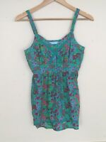 Joe Browns Green Floral Strapless Top Size UK 10