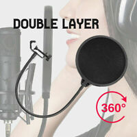 Recording Studio Microphone Wind Screen Pop Filter Mask Shield Double Layer