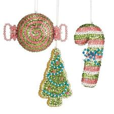 """""""Holiday Sweets"""" Kit makes 3 Ornaments Sequin Beads Craft Candy Cane tree"""