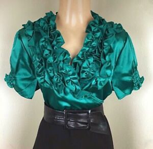 1X Emerald Green LIQUID SATIN Ruffle Wrap BLOUSE Puff Sleeve Frilly Vintage NEW