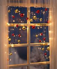 LED Lichtervorhang mit Kugeln Weihnachtsbeleuchtung Lichterkette Fensterdeko NEU