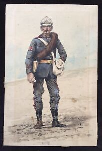 Marius Roy Original Drawing of a French Colonial Army Medic - Red Cross Armband