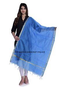Indian Art Silk Woven Zari Chanderi Long Stole Banarasi Dupatta Shawl Blue Gold