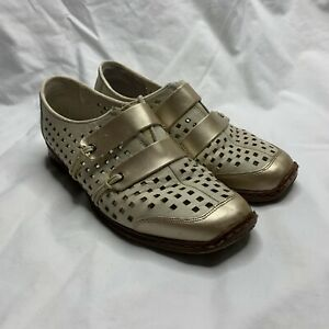 Womens Rieker Antistress Leather Slip On Shoes Flats Cream Gold Comfort Size 37