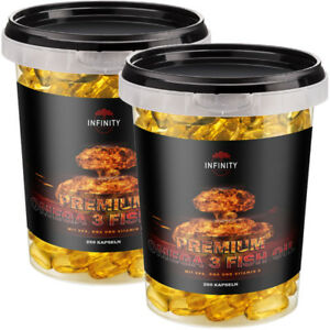 PREMIUM OMEGA 3 / 250 - 1000 Kapseln Fischöl Lachsöl 1000mg + EPA DHA Vitamin E