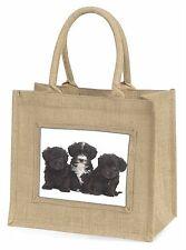 Yorkipoo Puppies Large Natural Jute Shopping Bag Christmas Gift Idea, AD-YP1BLN