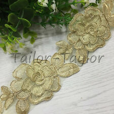 1 Yard Gold Flower Lace Edge Trim Embroidered Wedding Bridal Applique Sewing DIY