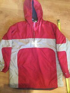 "Old Navy Sz 16 (XL Or 42.5"") Women's Nylon Outdoor Red Grey Jacket Hoodie"