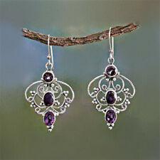 Drop Hook Earrings Women's Jewelry Vintage Silver purple Crystal Hollow Flower