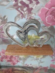 Love multi heart ornament On Block 16cm