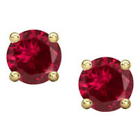 2Ct Red Ruby Stud Earrings Solitaire Earrings 14K Yellow Gold Silver