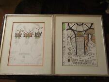 Saul Steinberg Framed Pair Original Lithographs - Roulette & Italian Scene