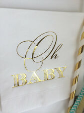 Baby Shower Napkins White with Metallic Gold Foil Oh Baby Ships Immediately