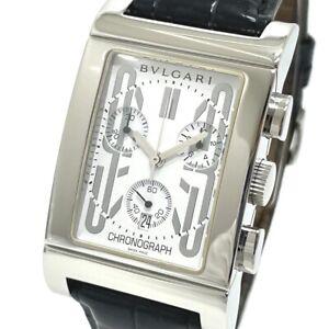 BVLGARI RTC49S Date Le Tango Lo Chronograph Quartz Wristwatch SS/ leather