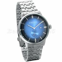 Men's Watch Blue Dial Silver Stainless Steel Band Date Analog Quartz Wrist Watch