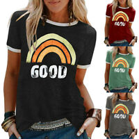 UK Women Ladies Casual Rainbow Print T Shirt Street Short Sleeve Tops Blouse Tee