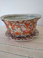 Vintage Chinese Hand Painted Porcelain Flower Pot w/ Drainage Plate