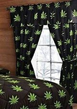 5PCS Pot Marijuana Leaf Weed Curtain Set