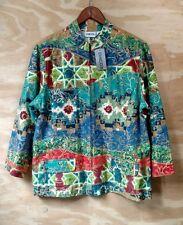 NWT Chico's Women's Santa Fe Abstract Print 3/4 Sleeves Zip Light Jacket SZ 2