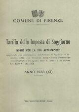 Libretto 1933 Comune di Firenze Tariffa Imposta Soggiorno Norme per Applicazione