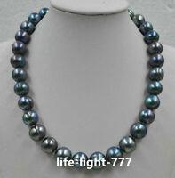 Huge 11-12mm tahitian baroque tahitian black green pearl necklace 18inch 14k
