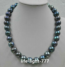 Huge 11-12mm tahitian baroque tahitian black green pearl necklace 18inch 14k