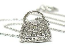 Crystal Purse Handbag Pendant NECKLACE White Gold Plate